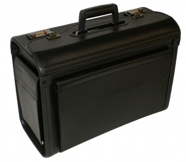 Pilotenkoffer schwarz, mit Seitentasche