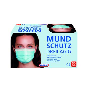 Mund- Nasenschutz, flach, Einweg 50 St. im Karton