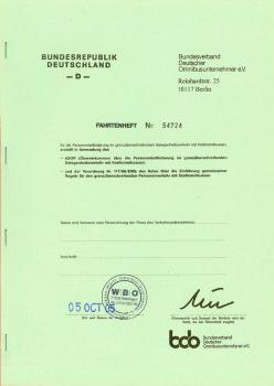 ASOR-Fahrtenheft grün (f.nicht EU-Staat)